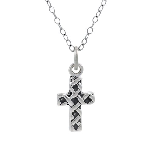 Children's Sterling Silver Woven Cross Necklace