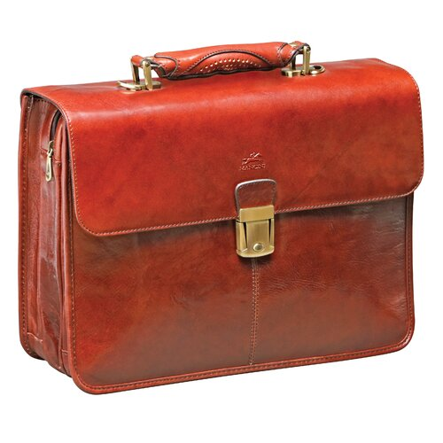 Signature Classic Leather Laptop Briefcase