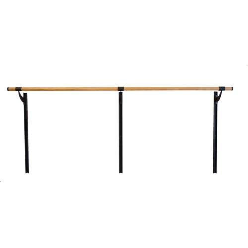 Vita Vibe Wall Barre Series Traditional Wood Single Bar Adjustable Height Ballet Barre Kit