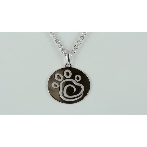 Chief Furry Officer Sterling Silver Swirl Paw Print Pendant