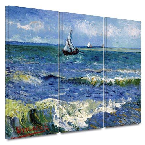 'Seascape at Saintes Maries' by Vincent van Gogh 3 Piece Painting Print on Canvas