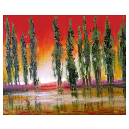 'Tuscan Cypress Sunset' by Susi Franco Graphic Art on Canvas