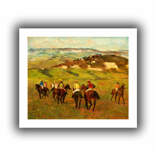 'Jockeys on Horseback before Distant Hills' by Edgar Degas Canvas Poster
