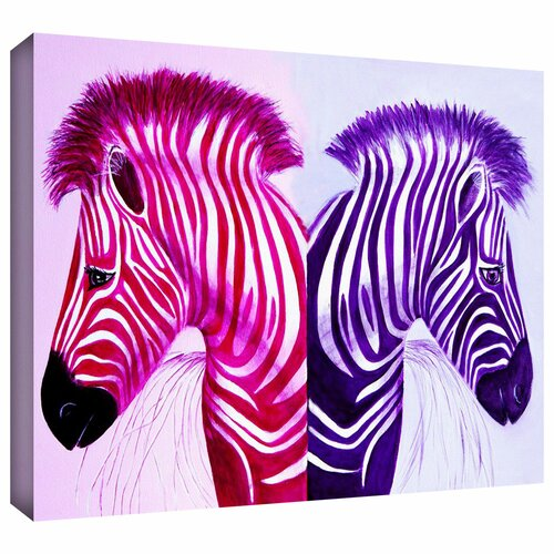 'Zebras Pinkpurple' by Lindsey Janich Gallery Wrapped on Canvas