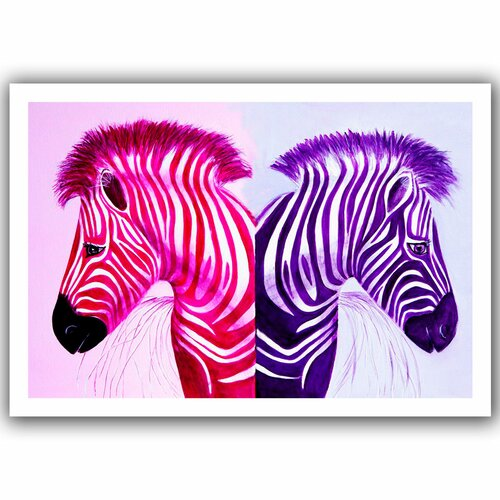 'Zebras Pinkpurple' by Lindsey Janich Unwrapped on Canvas