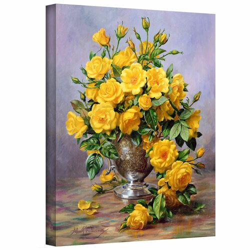 'Roses in a Silver Vase' by Albert Williams Gallery-Wrapped on Canvas