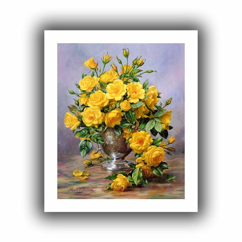 'Roses in a Silver Vase' by Albert Williams Canvas Poster