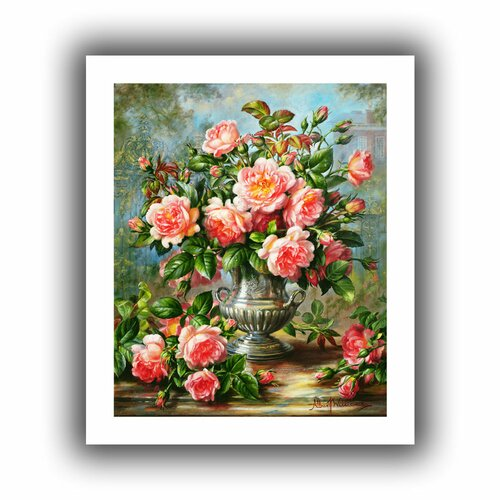 'English Elegance Roses in a Silver Vase' by Albert Williams Unwrapped on Canvas