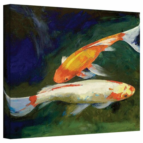 Art wall 39 feng shui koi fish 39 gallery wrapped on canvas by for Koi carp wall art