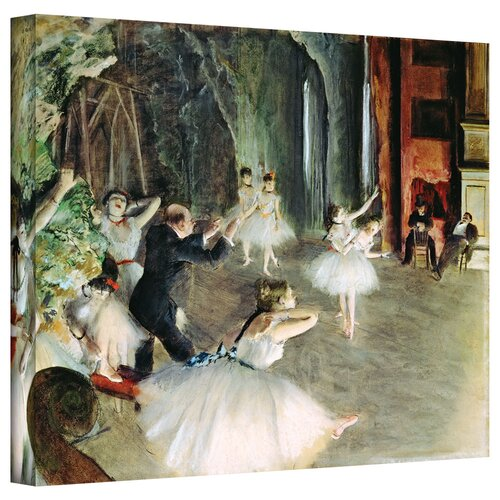 Art Wall 'The Rehearsal of the Ballet on Stage' by Edgar Degas Gallery-Wrapped on Canvas