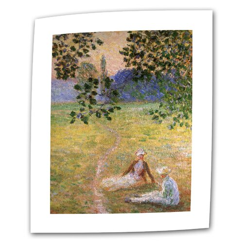 """Art Wall """"Eve in the Meadow at Giverny"""" by Claude Monet Painting Print on Canvas"""