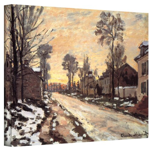 Art Wall ''Snowy Country Road'' by Claude Monet Painting Print on Canvas