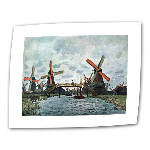 "Art Wall ""Windmills"" by Claude Monet Painting Print on Canvas"