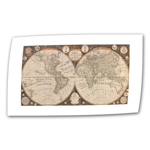 Art Wall Antique Maps 'A New Map of the World' by Jean Baptiste Nolin Graphic Art Canvas