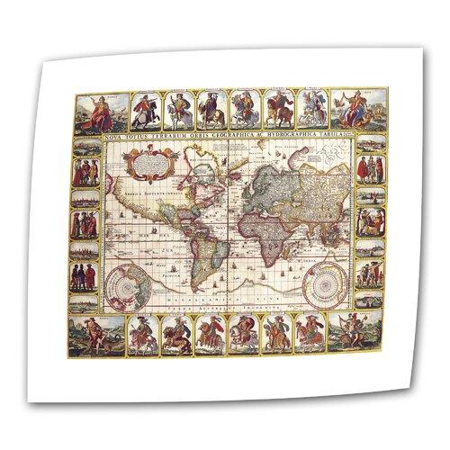 Art Wall Antique Maps 'Nova Totius Terrarum Orbis Geographica ac Hydrographica Tabula' by N.I. Piscator Graphic Art Canvas