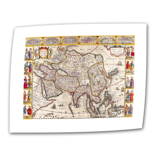 Art Wall Antique Maps 'Map of Asia' by Guillaume Danet Graphic Art Canvas