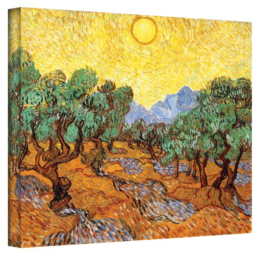Art Wall ''Olive Grove with Yellow Sky'' by Vincent Van Gogh Original Painting on Canvas