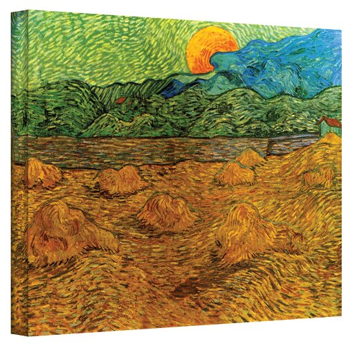 Art Wall ''Evening Landscape with Rising Moon'' by Vincent Van Gogh Painting Print on Canvas