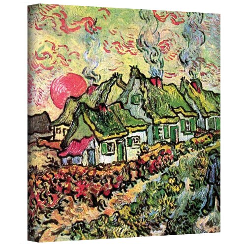 Art Wall ''Cottages Reminiscent of North'' by Vincent Van Gogh Original Painting on Canvas