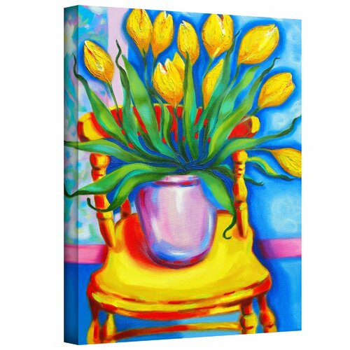 Art Wall 'Yellow Tulips in van Gogh's Chair' by Susi Franco Painting Print on Canvas