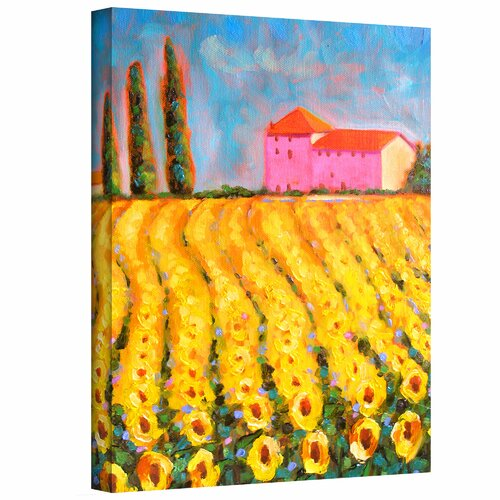 Art Wall 'Cyress and Sunflowers at Vall De Lot' by Susi Franco Painting Print on Canvas