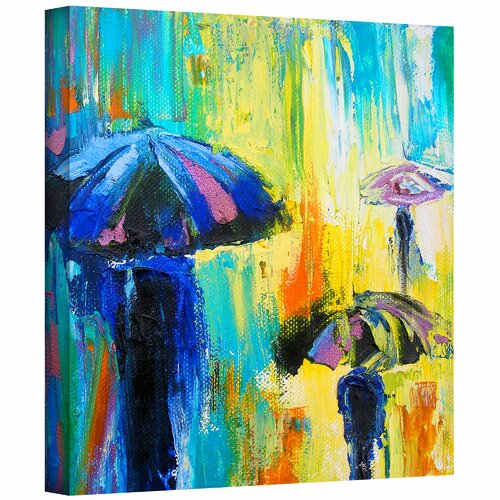 Art Wall 'Turquiose Rain' by Susi Franco Painting Print Canvas
