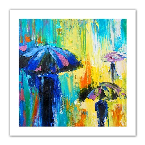 Art Wall 'Turquiose Rain' by Susi Franco Painting Print on Canvas