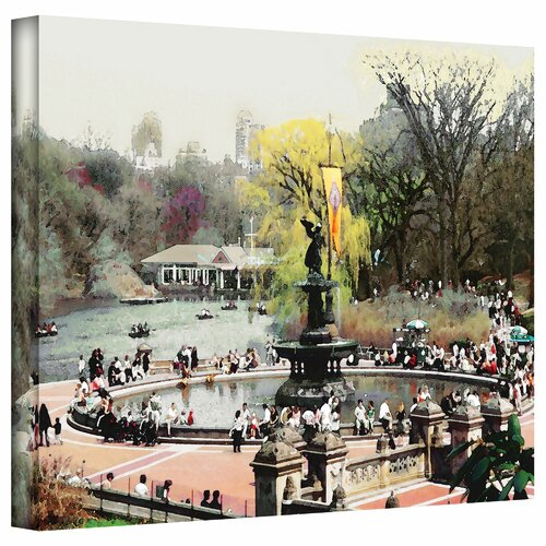 Art Wall 'Bethesda Fountain' by Linda Parker Photographic Print on Canvas