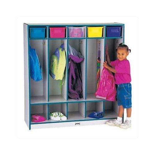 Jonti-Craft Rainbow Accents Coat Locker w/Step - 5 Sections