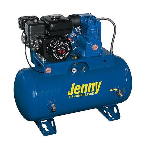 Jenny Products Inc 30 Gallon 5 HP Gas Single Stage Service Vehicle Stationary Air Compressor