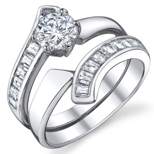 Bonndorf Laboratories Sterling Silver Round Cubic Zirconia Engagement Ring
