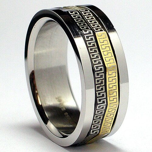 Men's Tricolor Stainless Steel Comfort Fit Greek Key Laser Spinner Ring