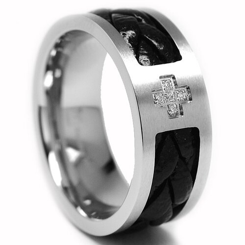 Stainless Steel Cubic Zirconia Cross Comfort Fit Ring