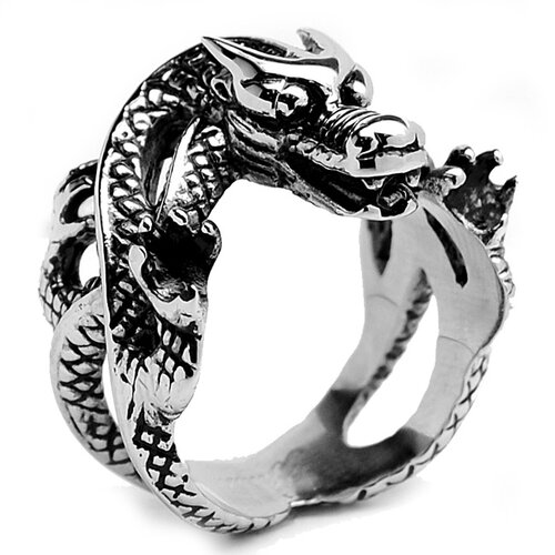 Bonndorf Laboratories Men's Stainless Steel Casted Biker Dragon Ring