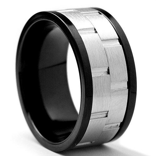 Men's Black Stainless Steel Brick Comfort Fit Spinner Ring