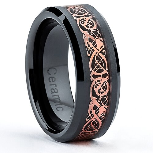 Ceramic Pink Celtic Dragon Over Carbon Fiber Inlay Wedding Band