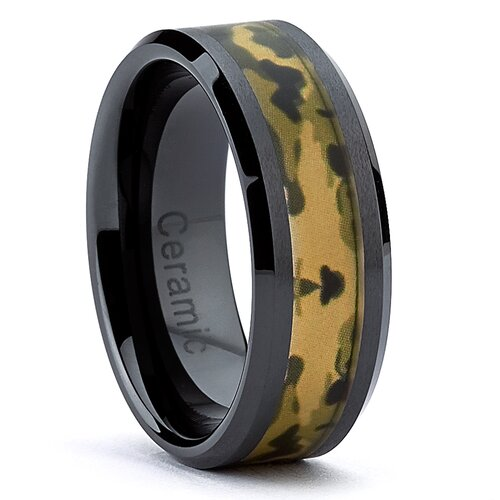 Hypoallergenic Ceramic Camouflage Military Ring