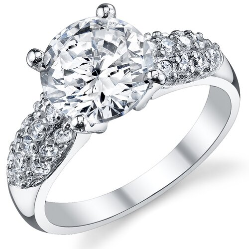 Solid Sterling Silver 925 Round Cubic Zirconia Engagement and Wedding Ring