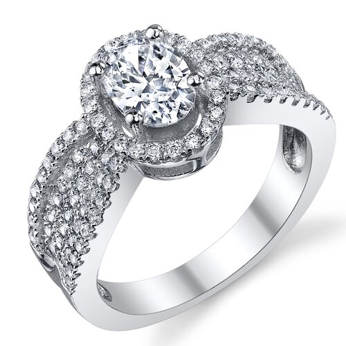 Solid Sterling Silver 925 Oval Cubic Zirconia Engagement and Wedding Ring