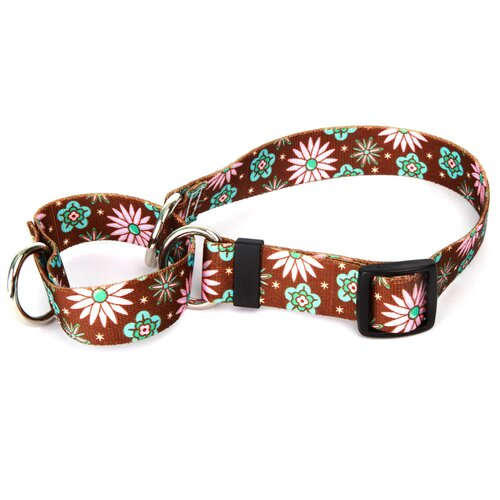 Pink and Teal Flowers Martingale Collar