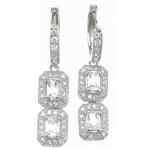 Emerald Cut Cubic Zirconium Drop Earrings