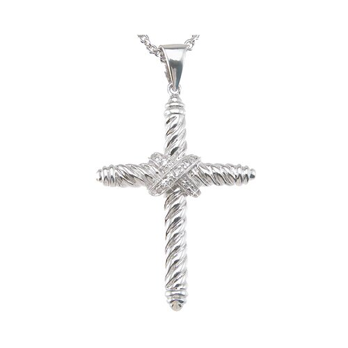 Plutus Partners .925 Sterling Silver Brilliant Cut Cubic Zirconium Cross Fashion Pendant