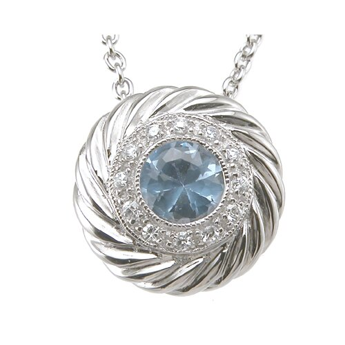 .925 Sterling Silver Brilliant Cut Topaz Fashion Pendant