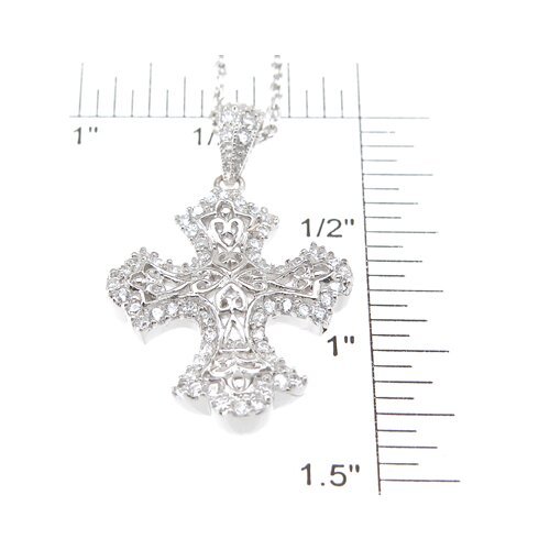 Plutus Partners .925 Sterling Silver Brilliant Cut Cubic Zirconium Cross Pendant