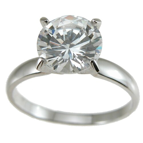 .925 Sterling Silver Brilliant Cut Cubic Zirconia Solitaire Wedding Ring