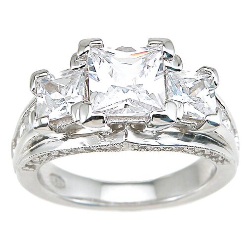 Plutus Partners .925 Sterling Silver Princess Cut Cubic Zirconia Wedding Ring