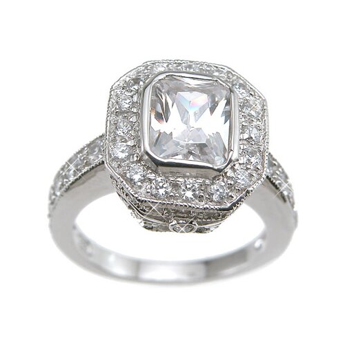 Plutus Partners .925 Sterling Silver Emerald Cut Cubic Zirconia Wedding Ring
