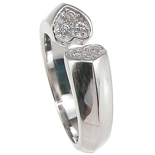 Plutus Partners .925 Sterling Silver Brilliant Cut Cubic Zirconia Heart Anniversary Ring