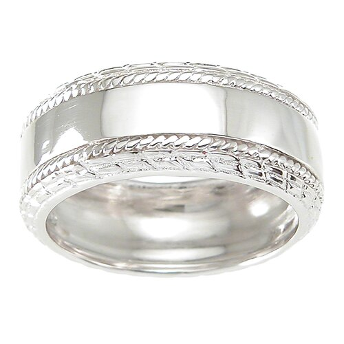 Men's .925 Sterling Silver Cubic Zirconia Wedding Band