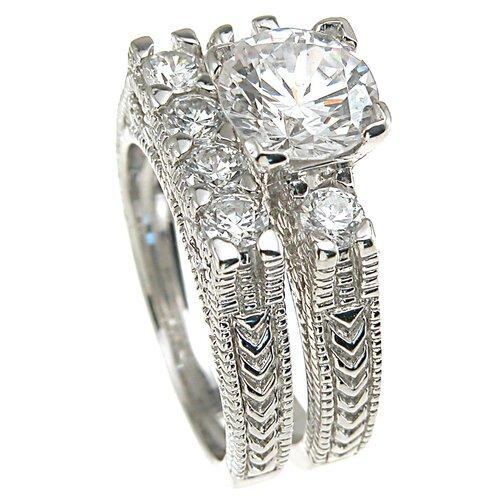 Plutus Partners .925 Sterling Silver Brilliant Cut Cubic Zirconia Wedding Ring Set